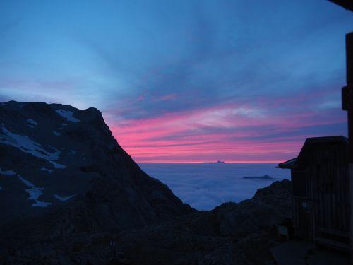 Abendstimmung auf der Mannheimer Hütte
